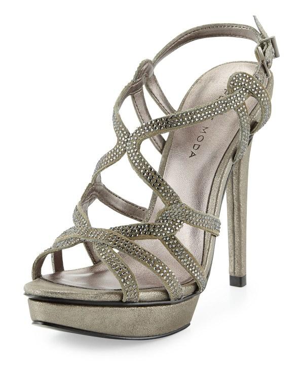 Pelle moda Flirt Metallic Evening Platform Sandal in ...