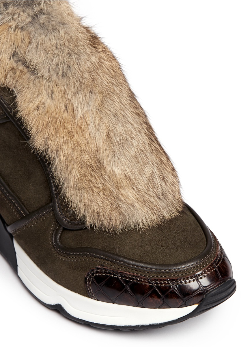 Lyst Ash Link Rabbit Fur Suede Leather Combo Sneakers