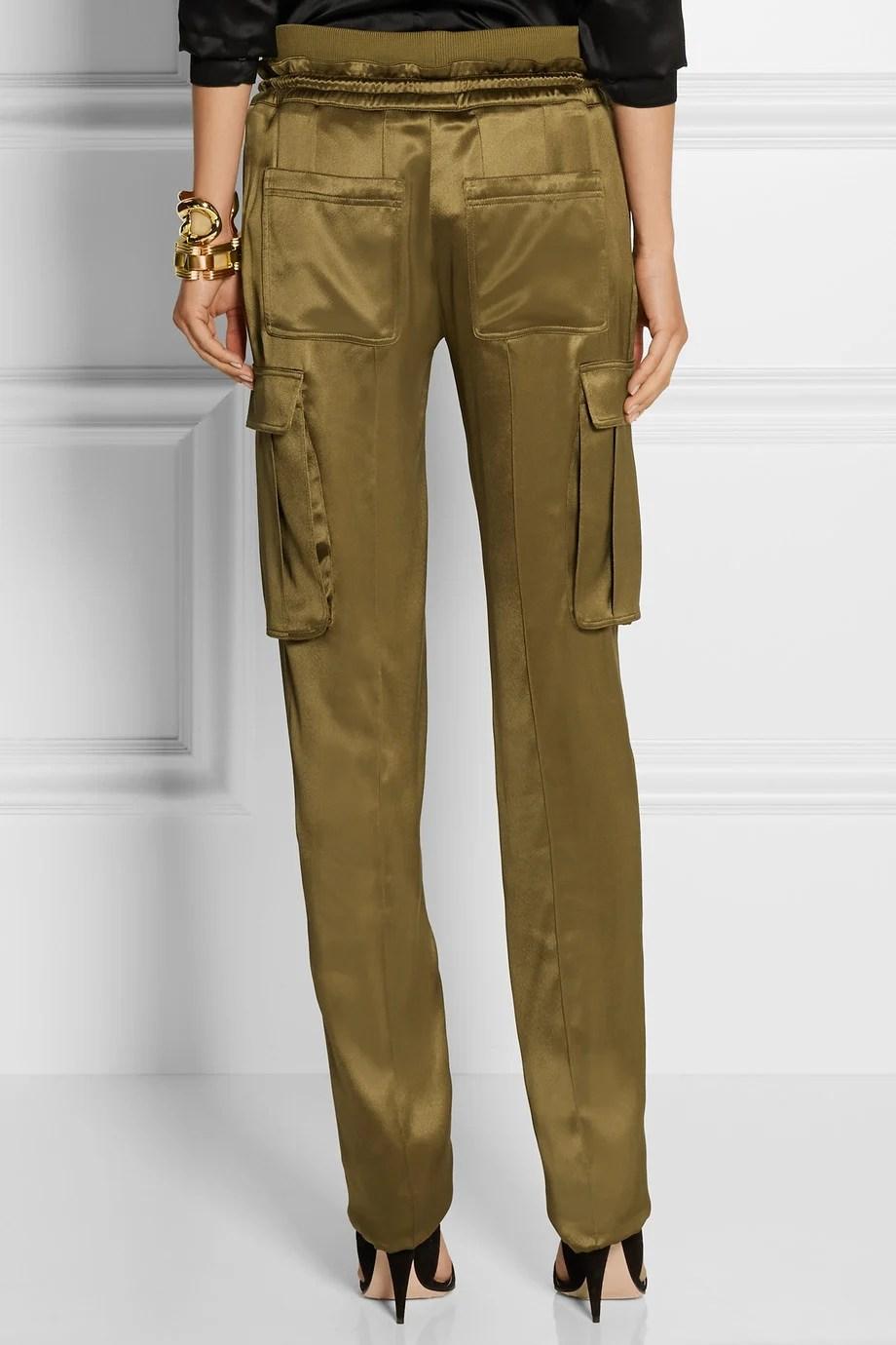 Balmain Silk Satin Cargo Pants In Green Lyst