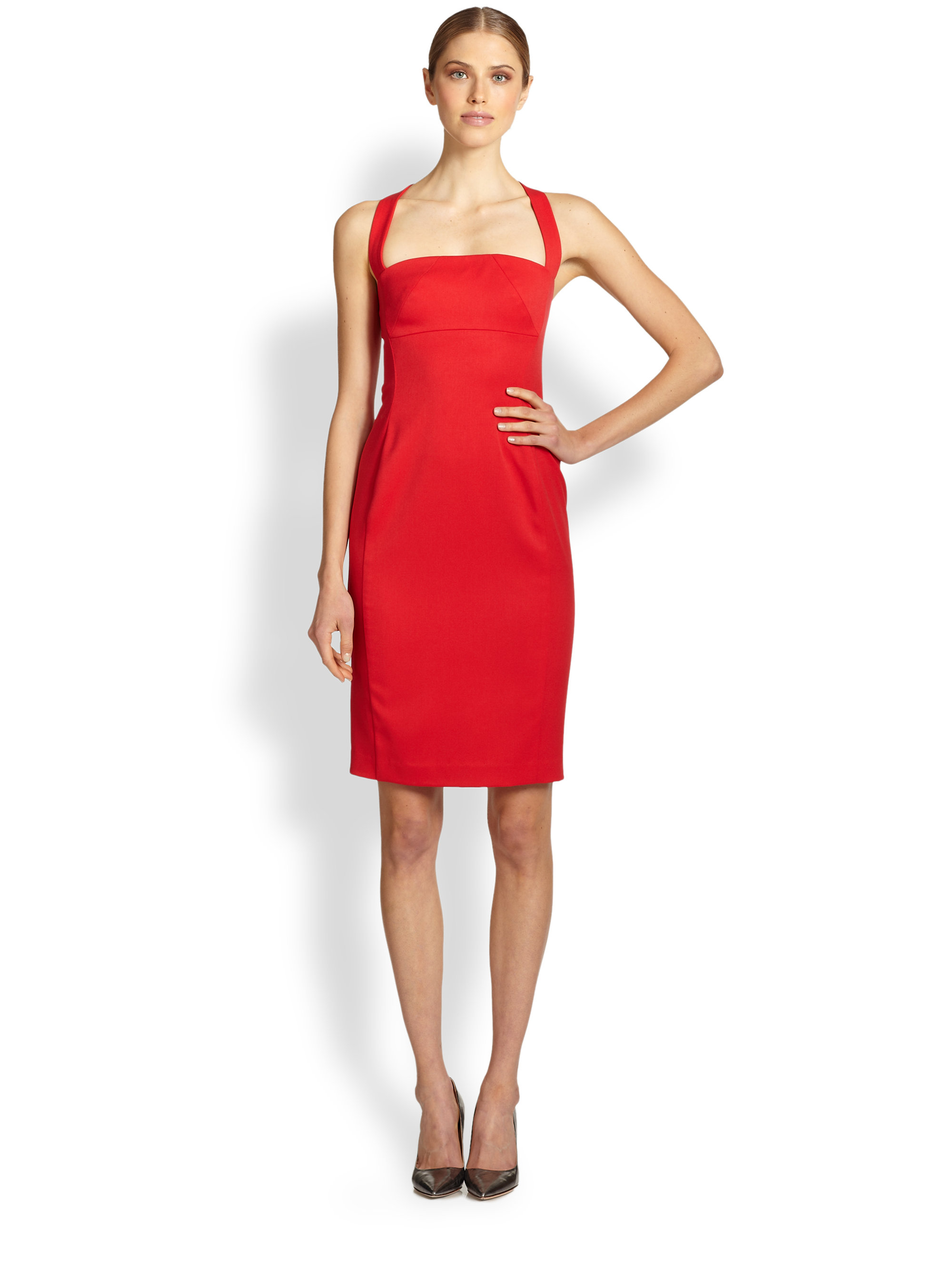 Black Halo Bryson Halter Sheath Dress In Red RED LOTUS