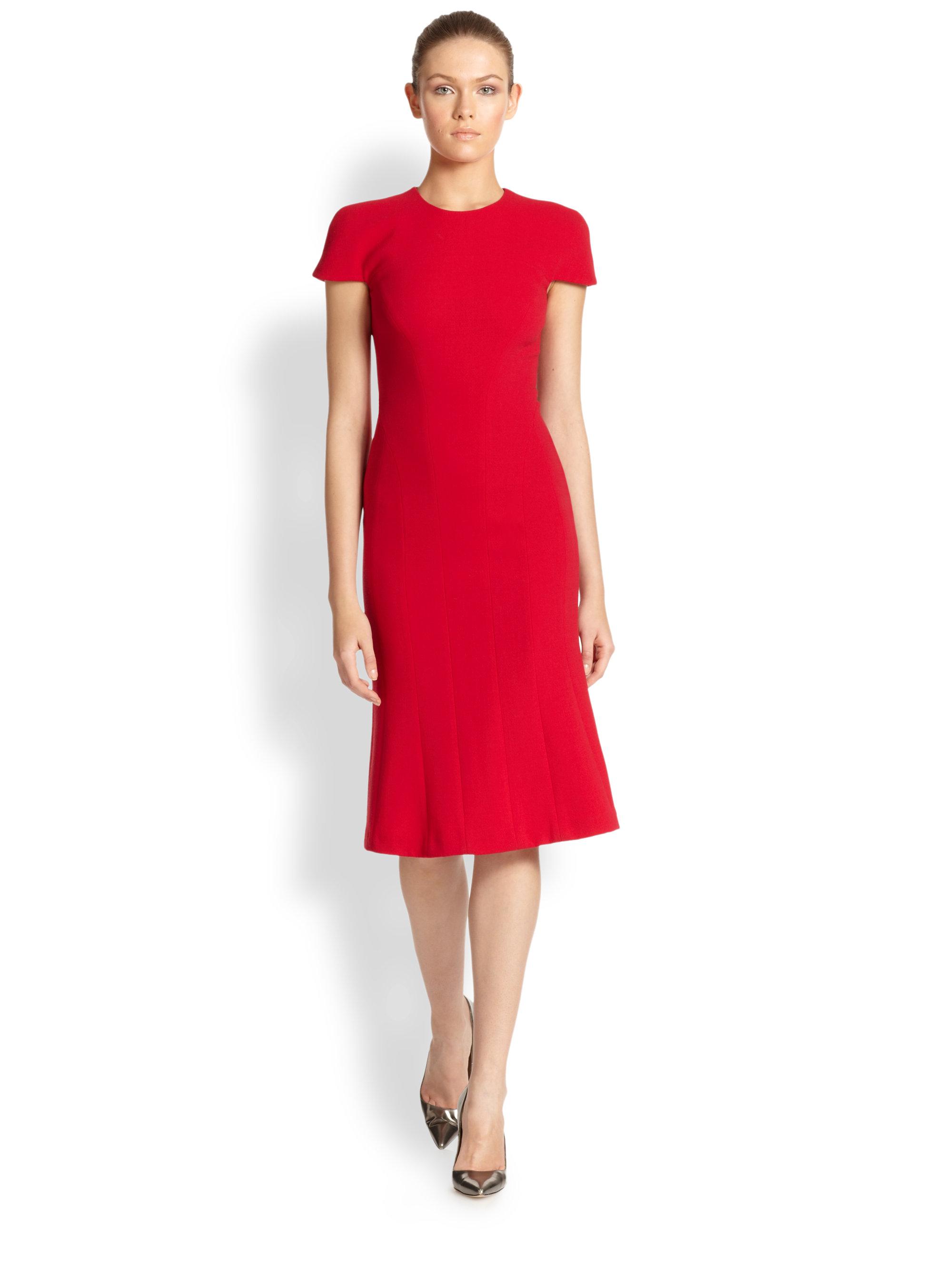 Carolina Herrera Crepe A Line Dress In Red Lyst