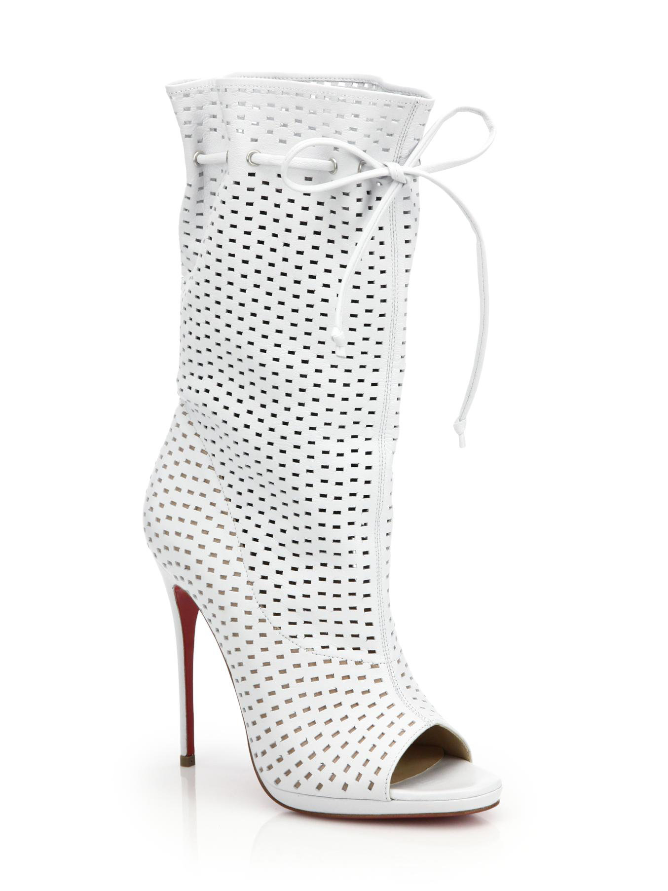 Christian Louboutin Jennifer Perforated Leather Open Toe