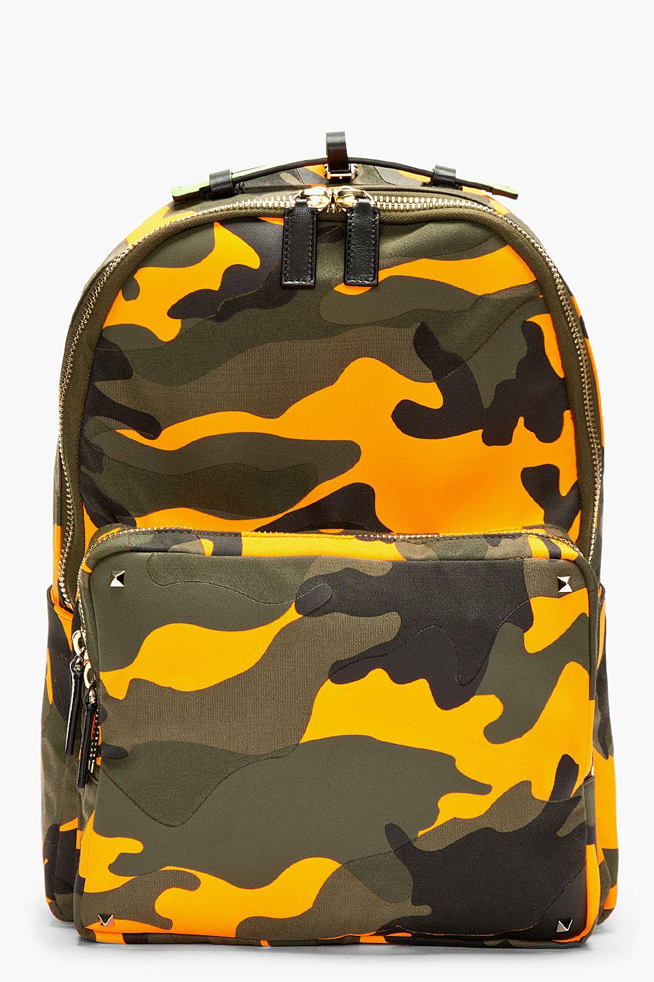 Valentino Orange Camo Backpack In Green For Men Lyst