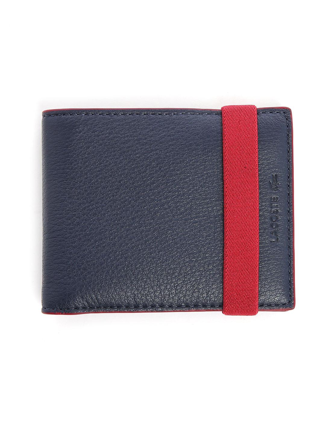 Lacoste Leather Logo Wallet In Blue For Men Lyst