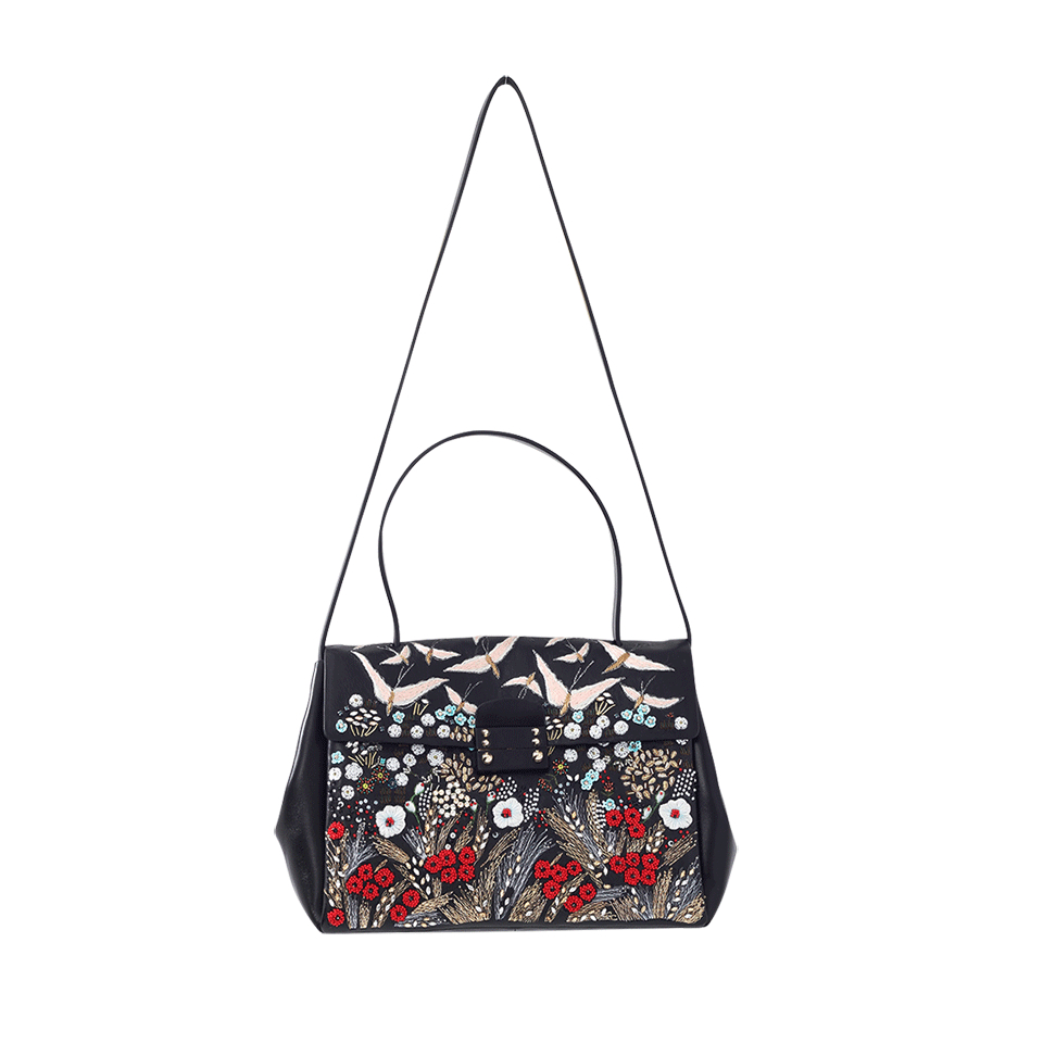 Lyst Valentino Embroidered Leather Top Handle Bag In Black