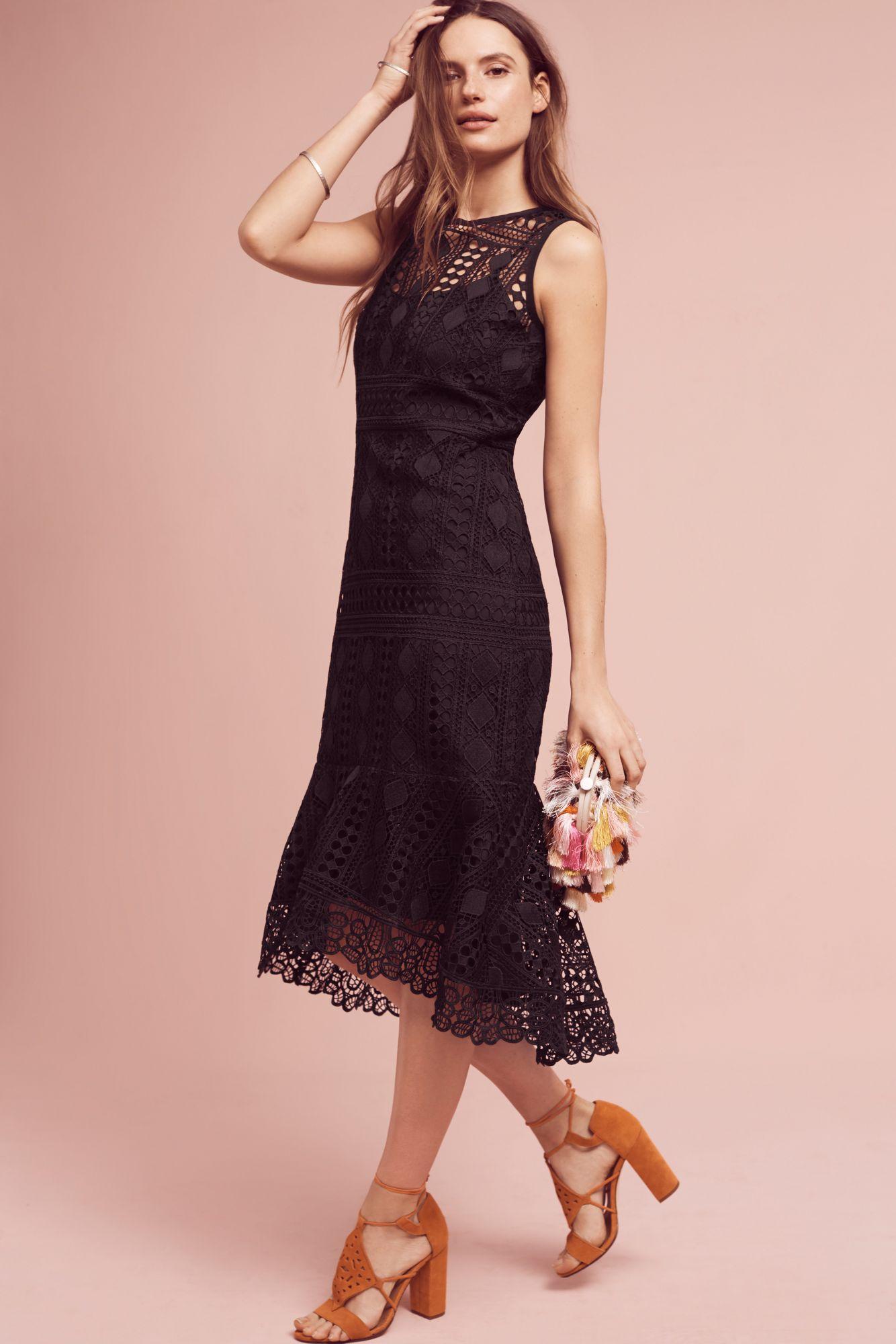 Shoshanna Annalise Trumpet Dress In Black Lyst