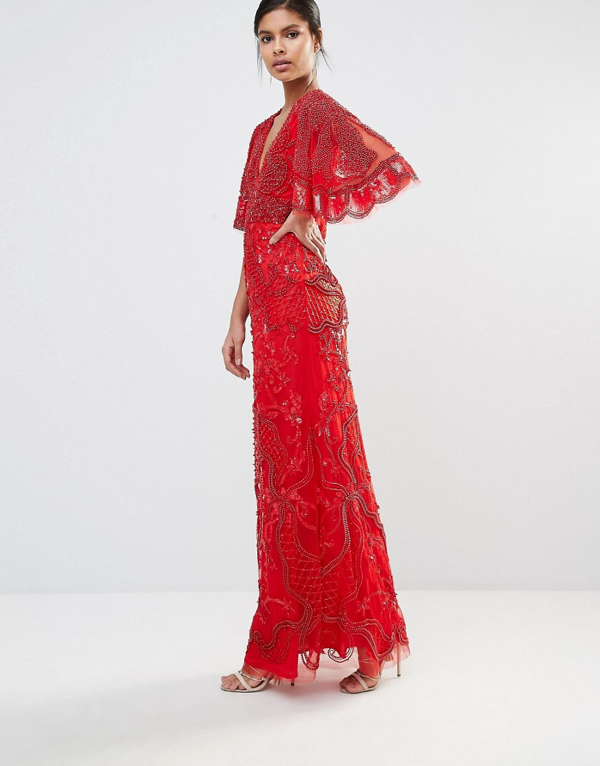 A Star Is Born Embellished Kimono Sleeve Crepe Gown In Red
