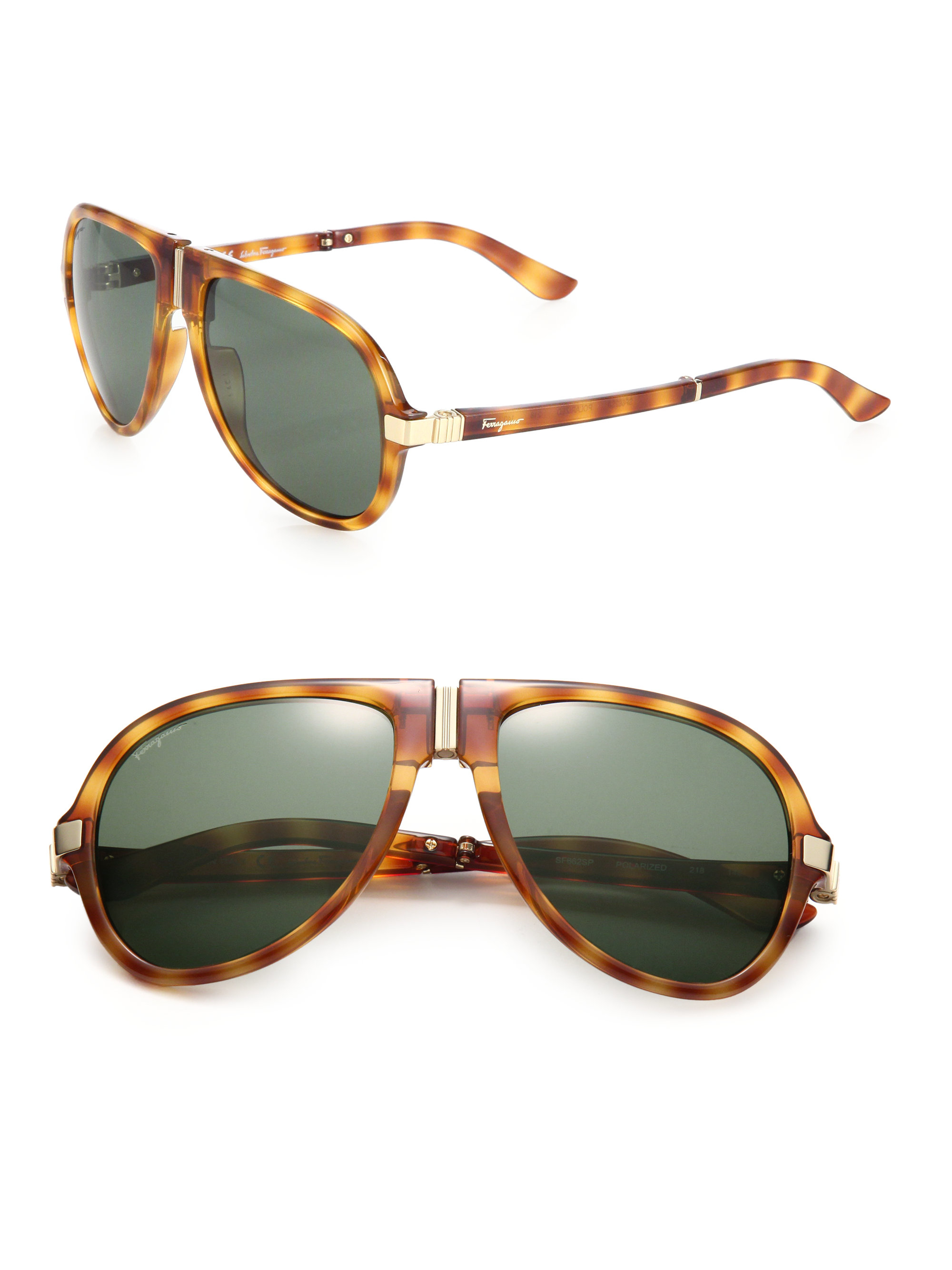 Ferragamo Folding Navigator Sunglasses In Brown For Men Lyst