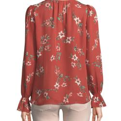cfdf2213ee5d11 Lyst Joie Bolona Long Sleeve Floral Silk Button Front Top In Red