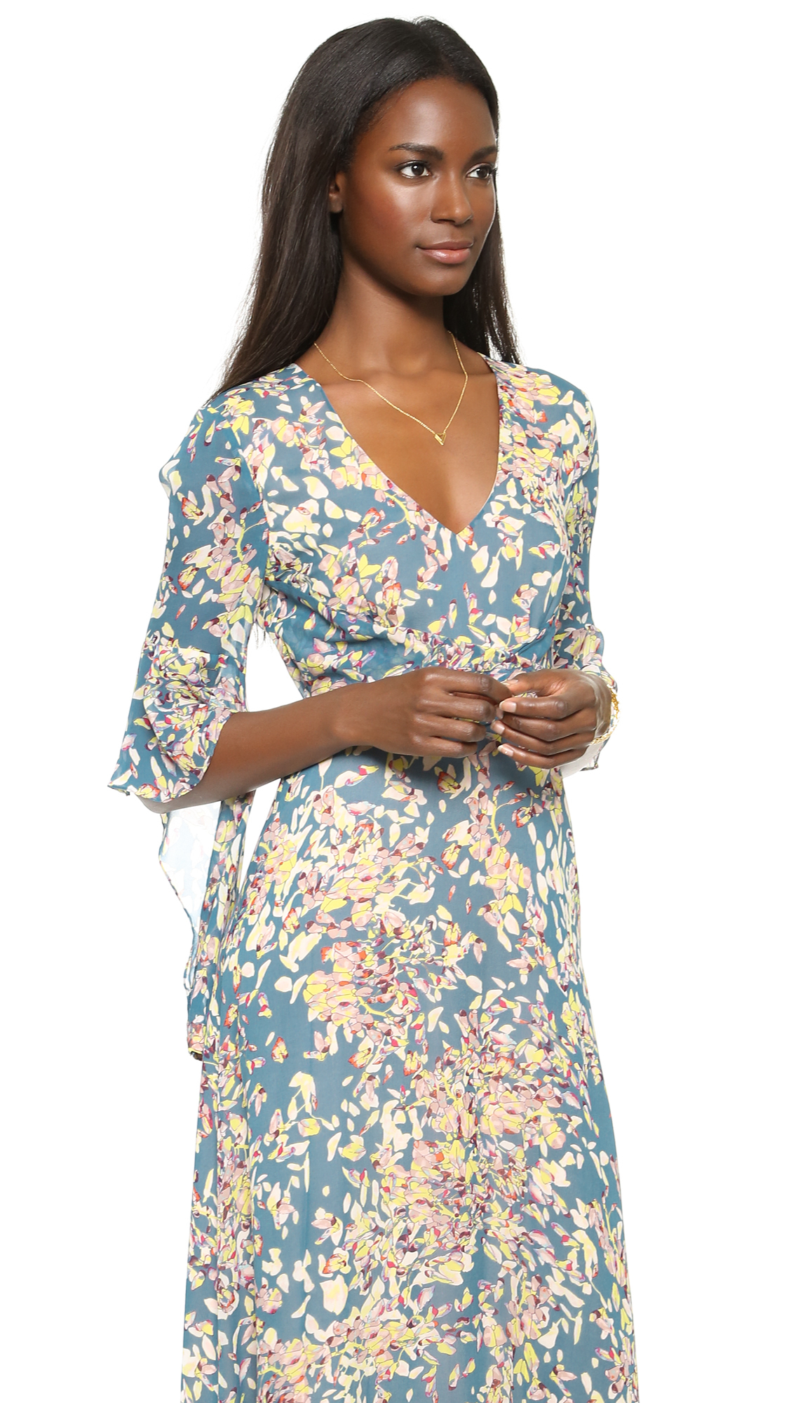 Long Floral Dress With Sleeves
