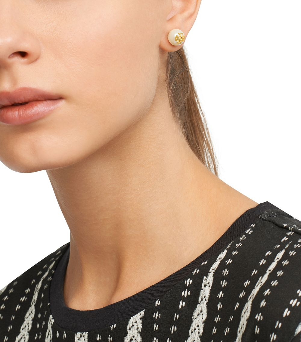 Tory Burch Evie Pearl Stud Earring In White Lyst