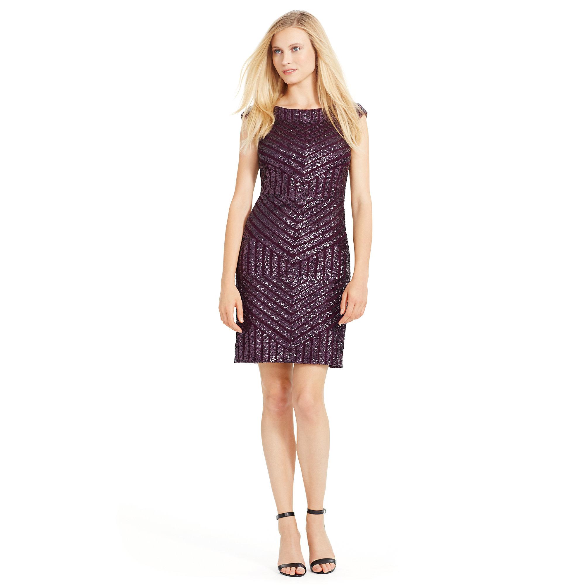 Ralph Lauren Sequined Cocktail Dress In Purple Lyst