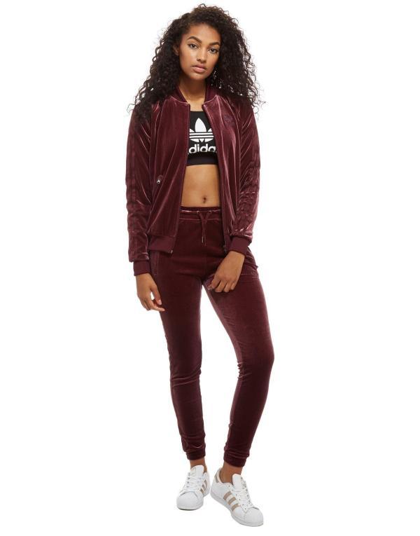 Lyst - Adidas Originals Velvet Superstar Track Top in Red
