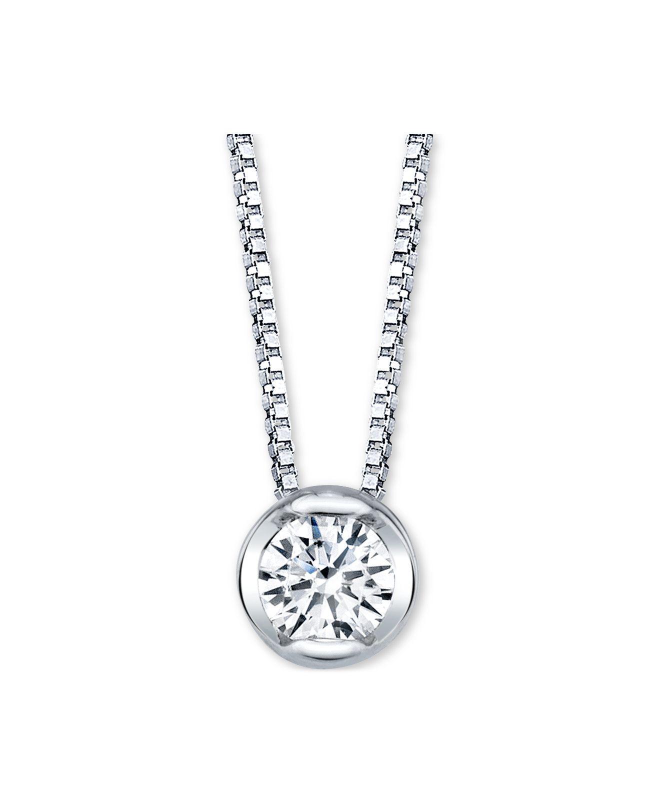 Macy S Sirena Diamond Bezel Solitaire 18 Pendant Necklace