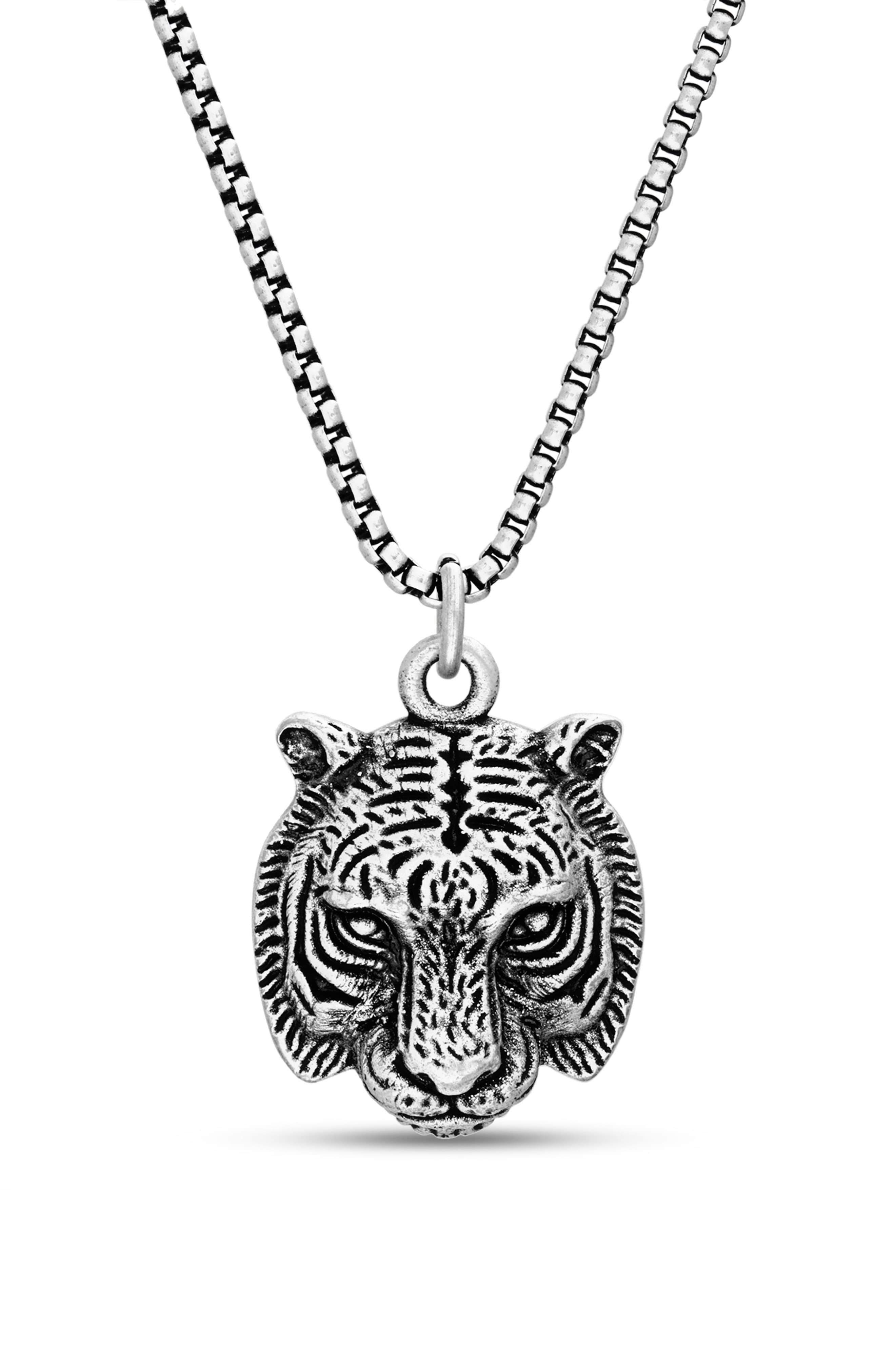 Steve Madden Tiger Head Pendant Necklace In Metallic For