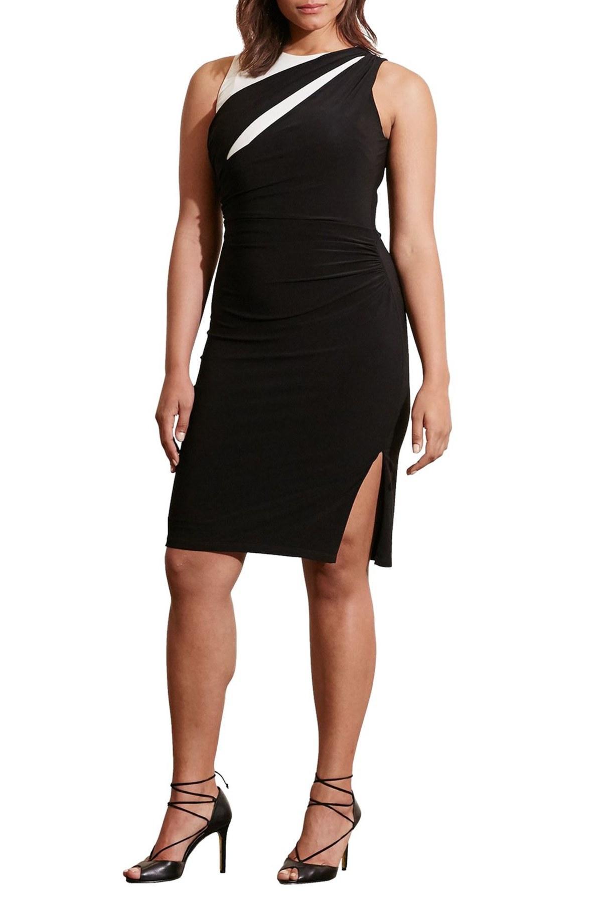 Lauren By Ralph Lauren Two Tone Side Ruched Jersey Dress