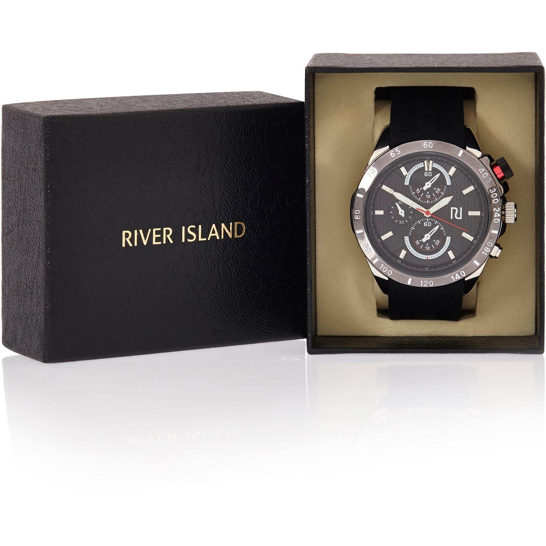 Lyst River Island Black Rubber Sports Watch In Black For Men