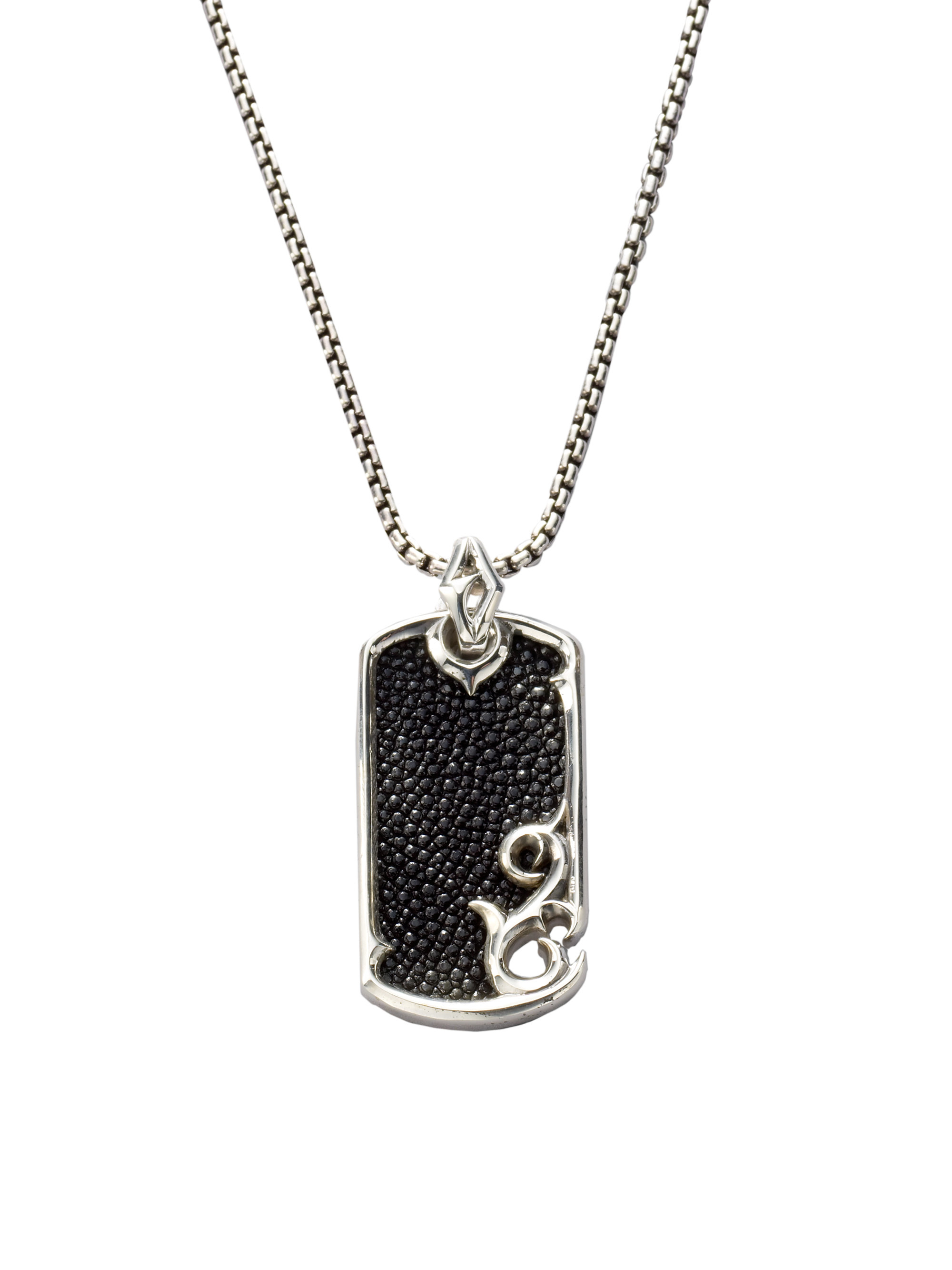 Stephen Webster Leather Silver Dogtag Necklace In Black