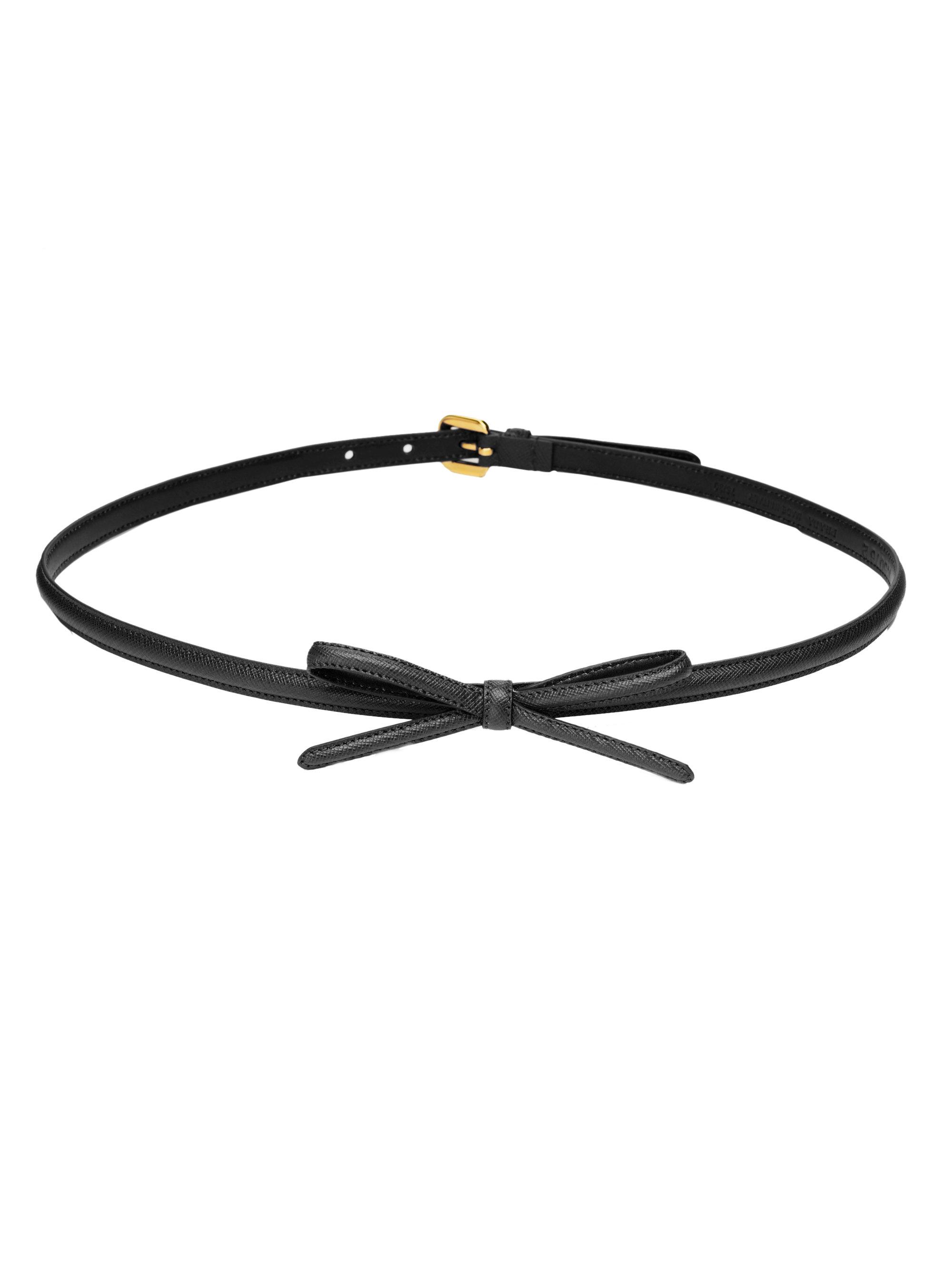 Prada Saffiano Bow Belt In Black