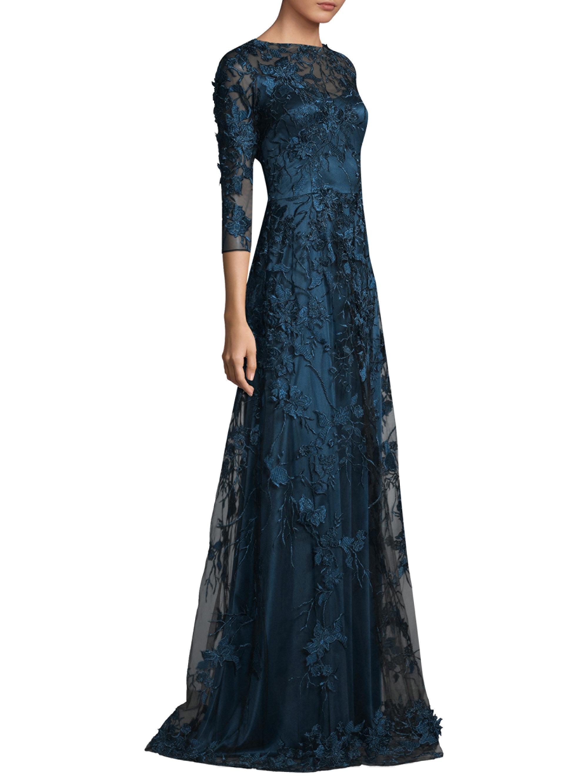 David Meister Lace Overlay Gown