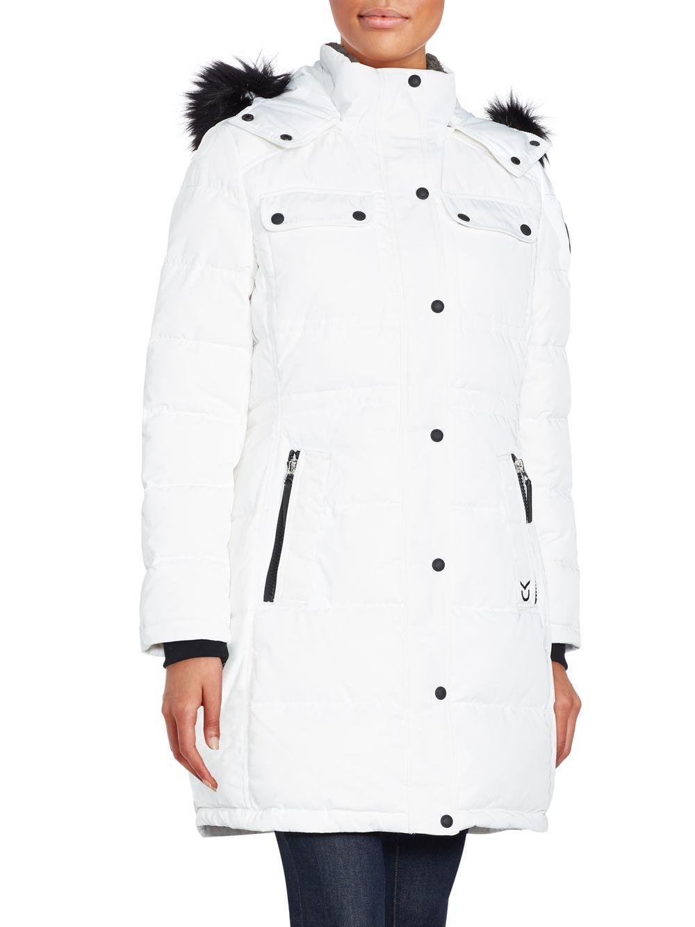 Calvin Klein Fur Trim Hooded Puffer Jacket In White Lyst