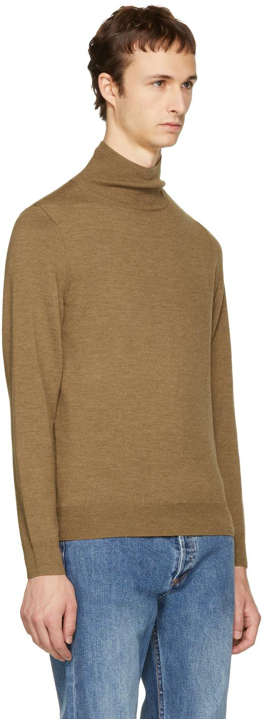 Brown Men Turtleneck Mock