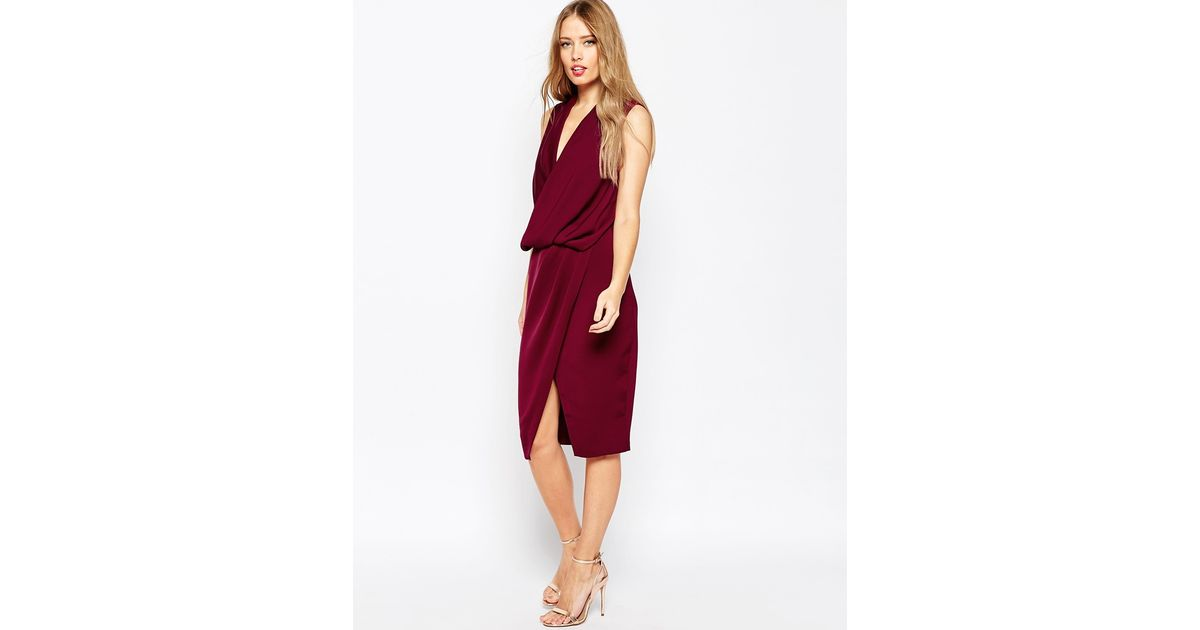 Asos Wedding Cowl Neck Midi Dress In Purple (Oxblood)