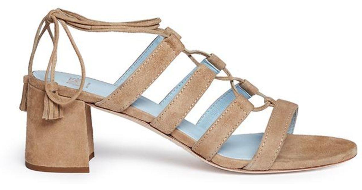Frances Valentine Jadesu Lace Up Suede Sandals Lyst