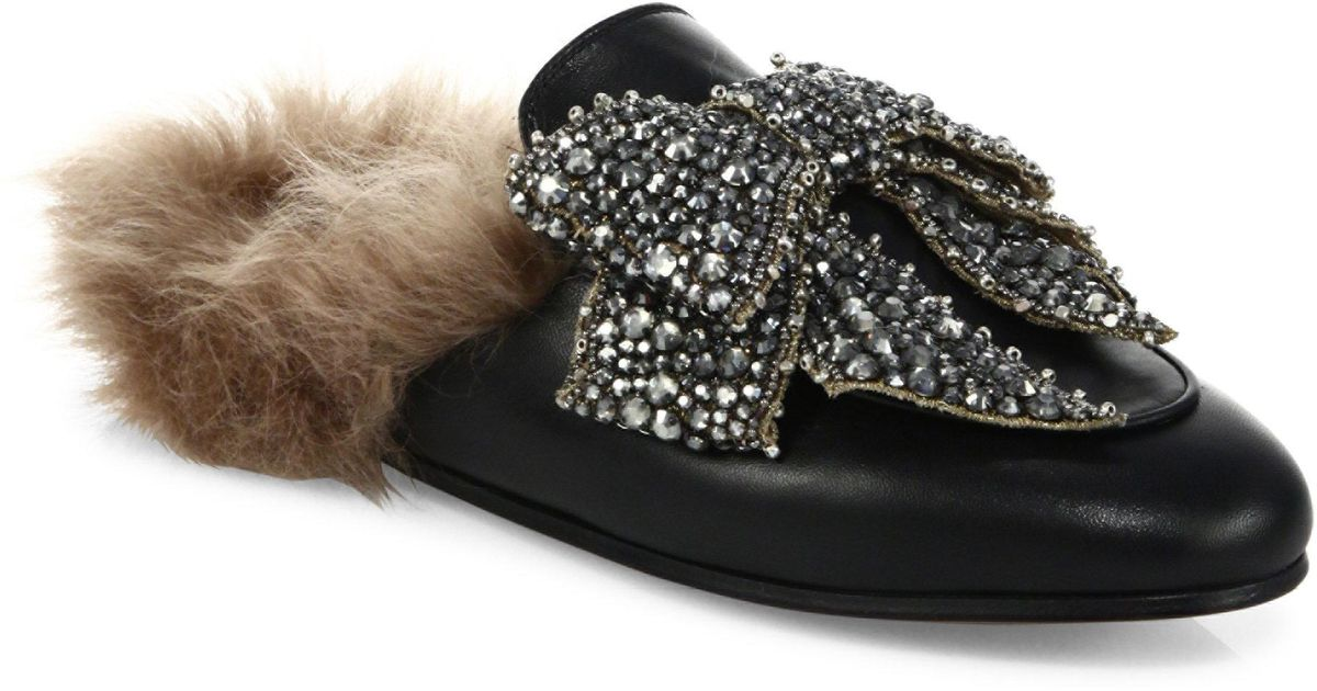 Gucci Princetown Jeweled Leather Amp Fur Loafer Slides In