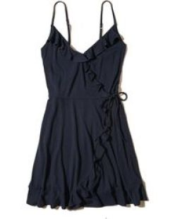 Image result for hollister Ruffle Wrap-Front Knit Dress
