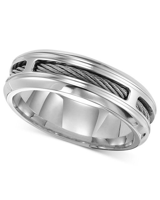 Triton Mens Stainless Steel Ring Comfort Fit Cable