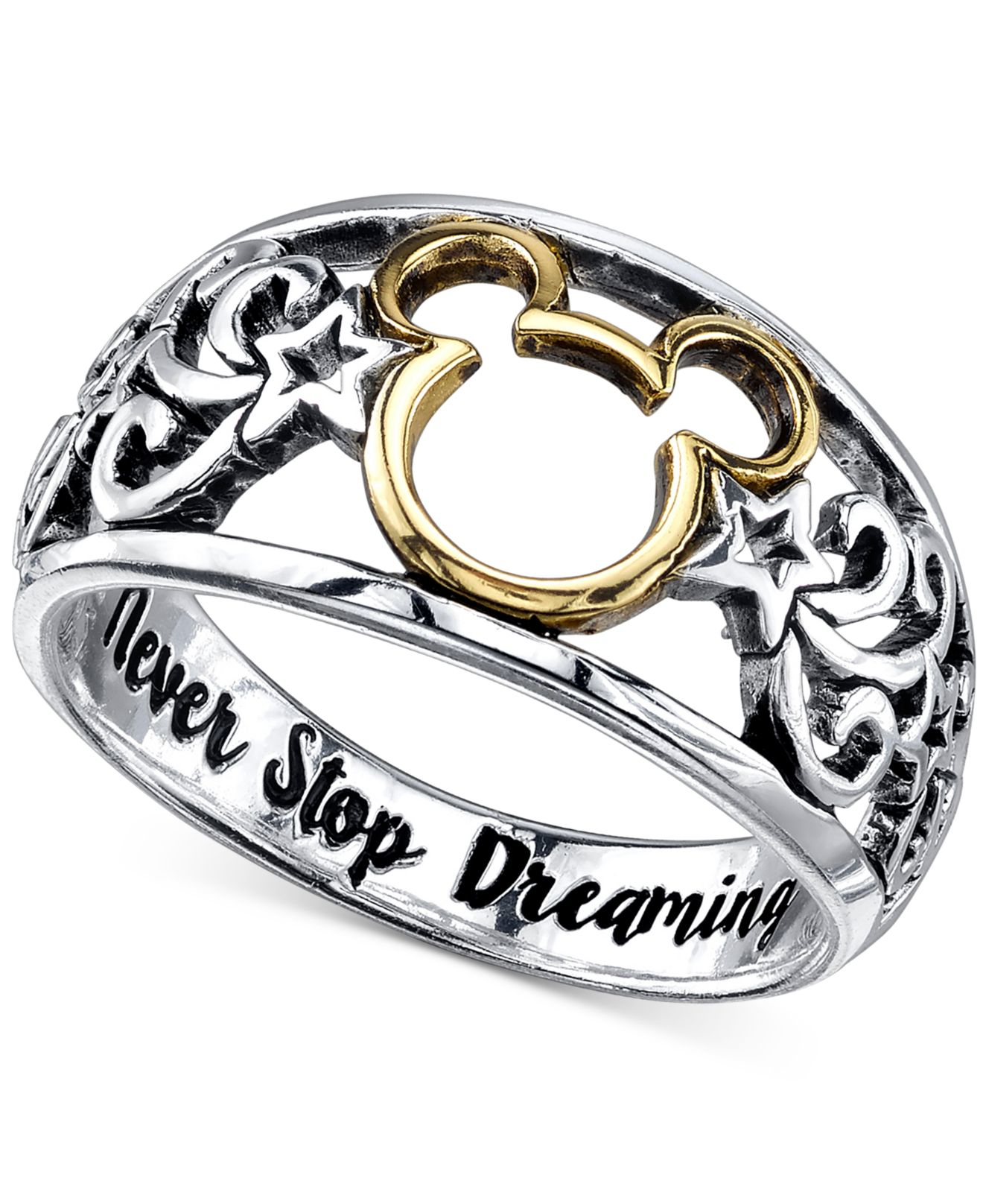 Disney Open Work Mickey Mouse Ring In Sterling Silver And