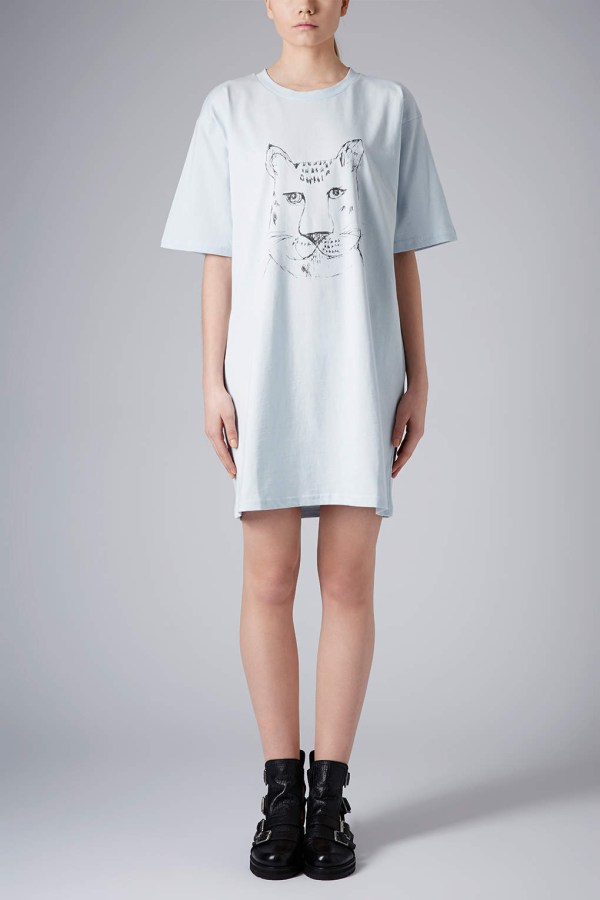 Lyst - Topshop Tiger Tshirt Dress By Boutique in Blue