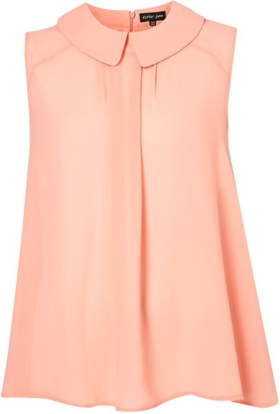 Topshop Sleeveless Long Blouse By Sister Jane** in Pink
