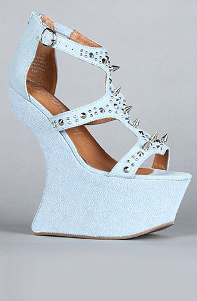 Jeffrey Campbell The Contain Shoe in Blue Denim in Blue