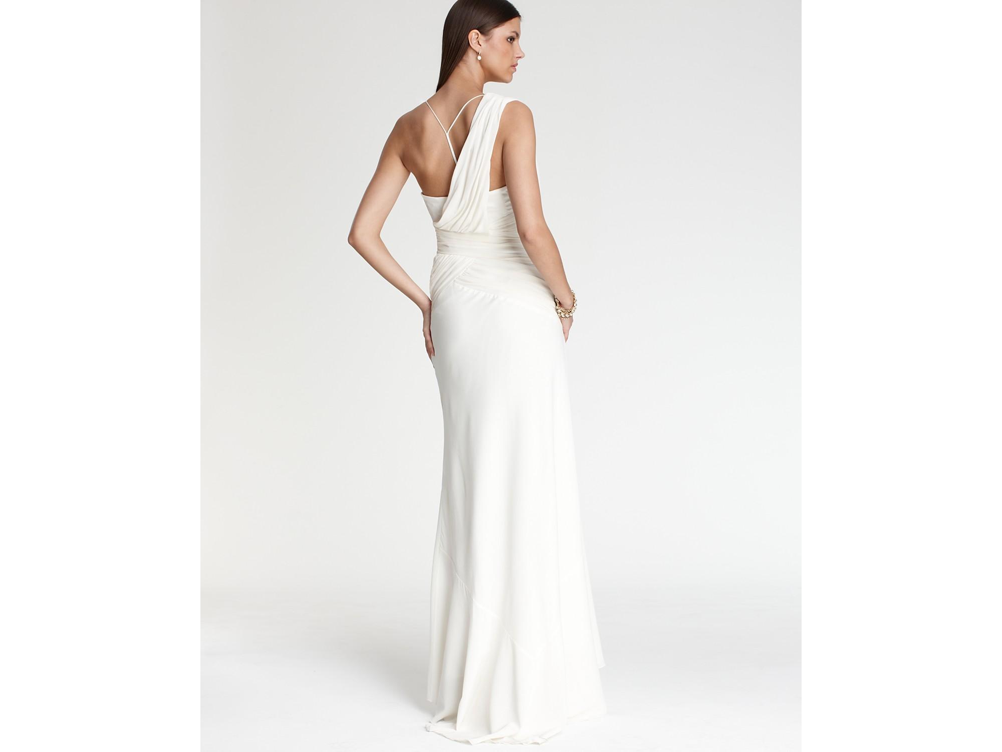 Nicole Miller One Shoulder Silk Gown In White