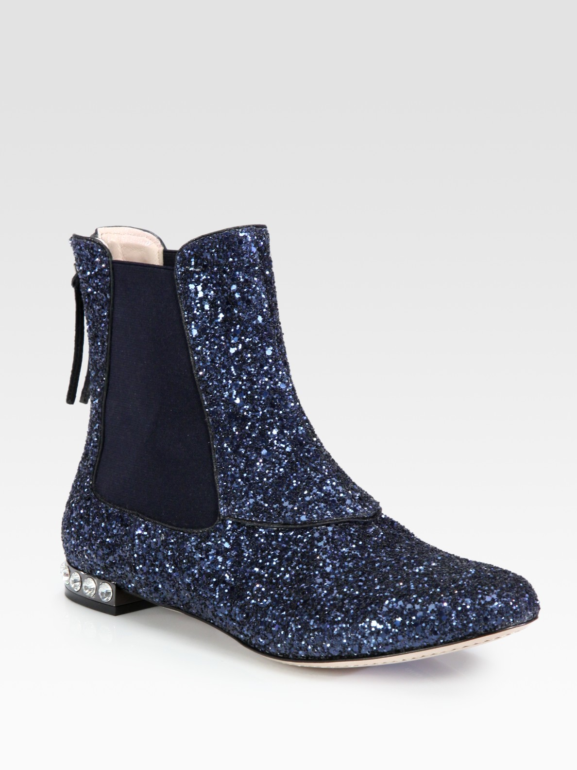 Lyst Miu Miu Glitter Leather And Jewel Ankle Boots In Blue