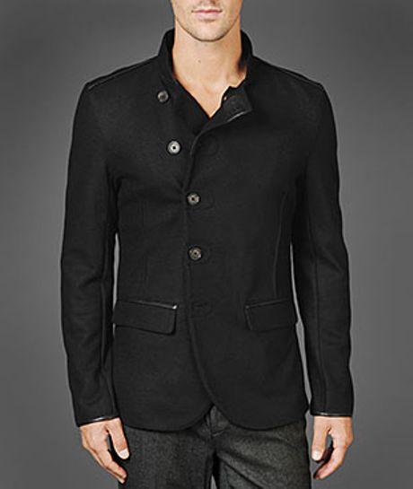 John Varvatos Felted Wool Knit Jacket in Black for Men - Lyst