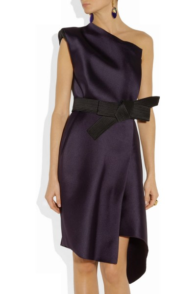 Lanvin One Shoulder Duchesse Satin Dress in Purple   Lyst Gallery