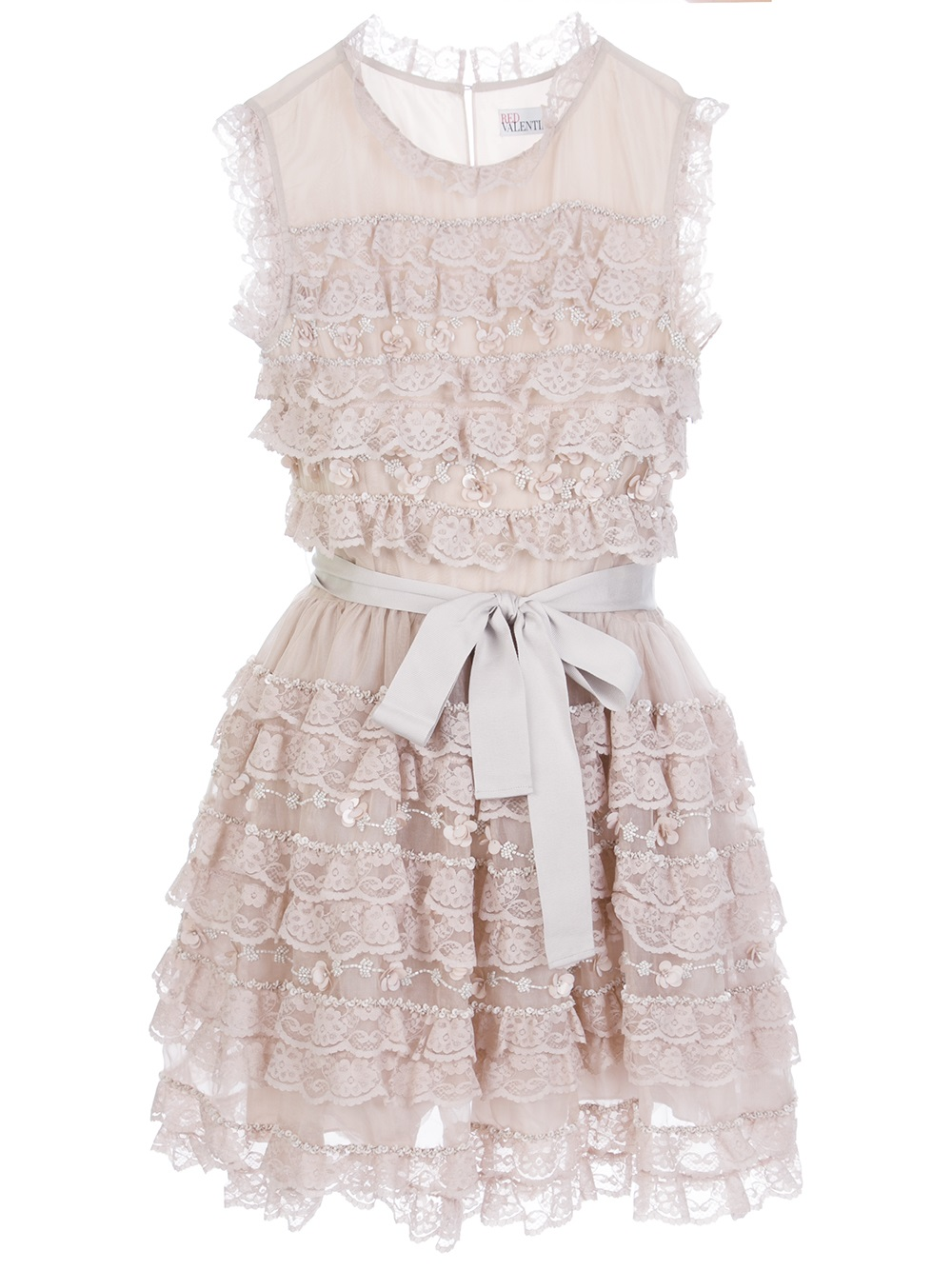 Lyst Red Valentino Ruffle Lace Dress In Pink