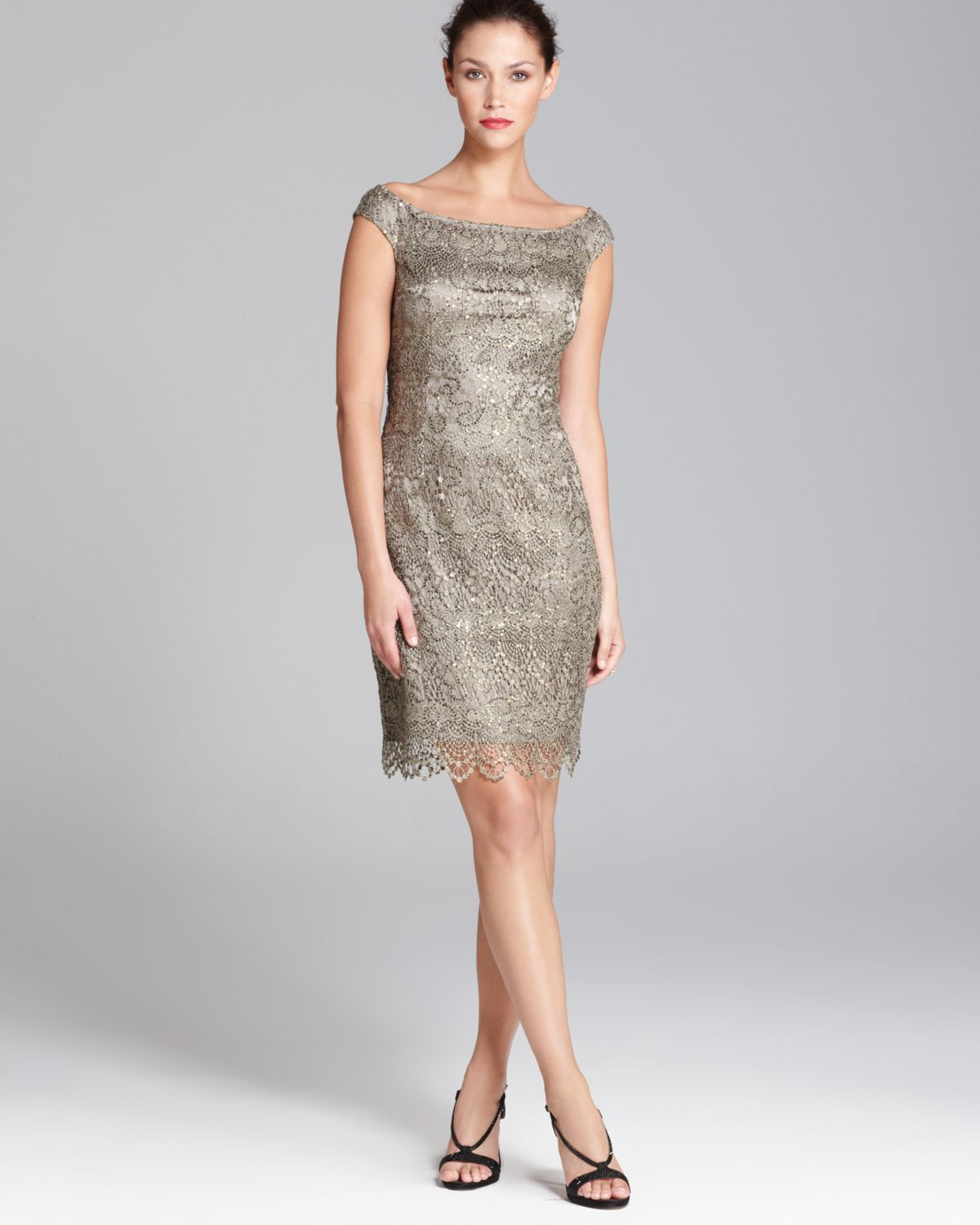 Lyst Kay Unger Sequin Lace Dress Boat Neck In Gray