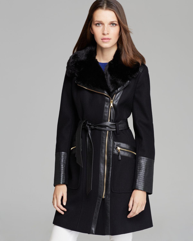 Lyst Via Spiga Coat Asymmetric Zip Faux Fur Trim In Black