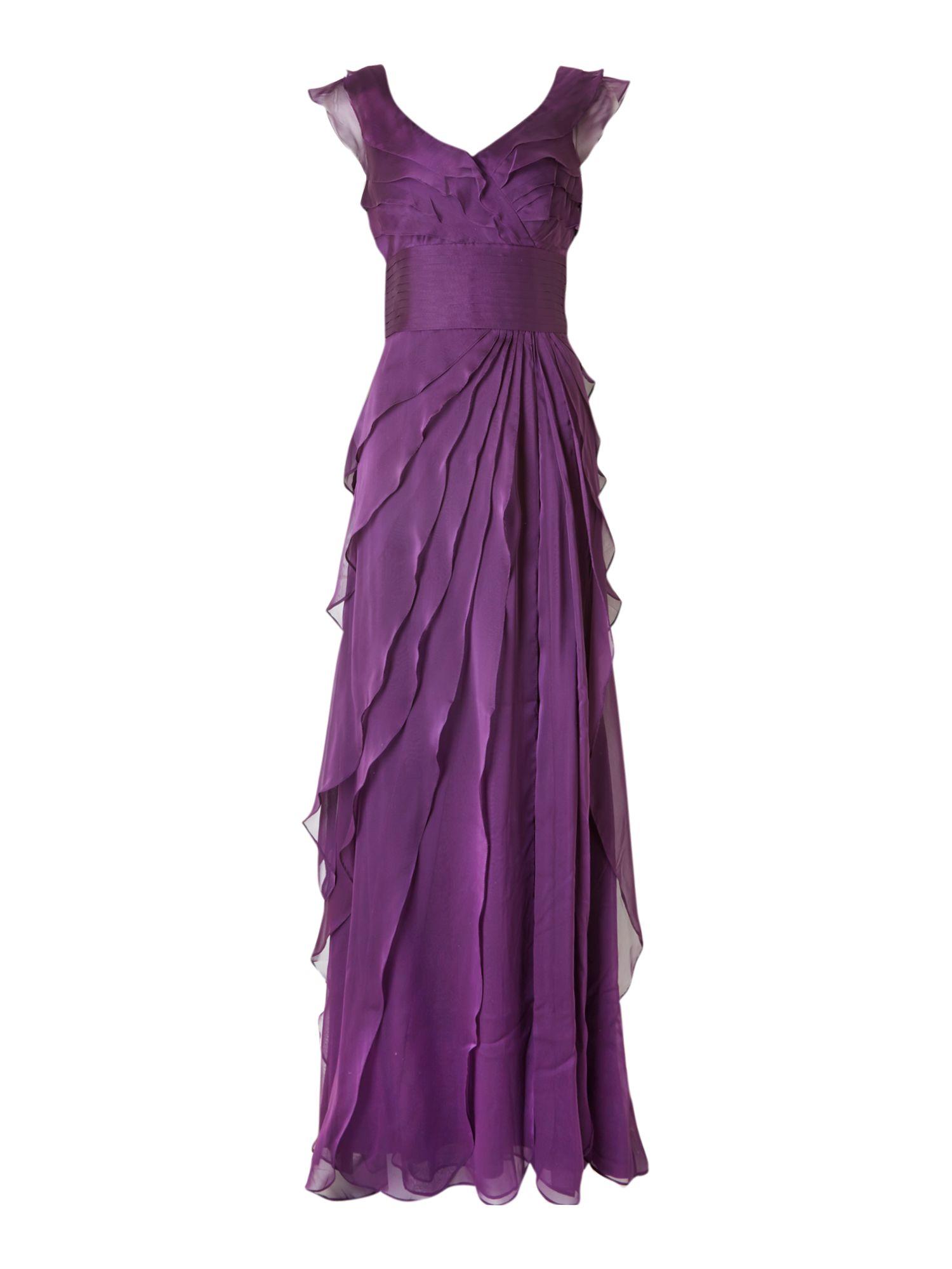 Adrianna Papell Tiered Chiffon Petal Dress