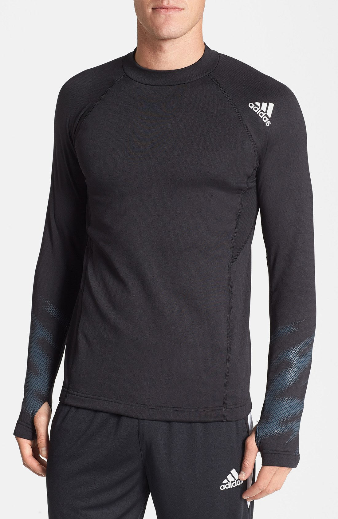 Download Adidas Climawarm Mock Neck Tshirt in Black for Men (Black ...