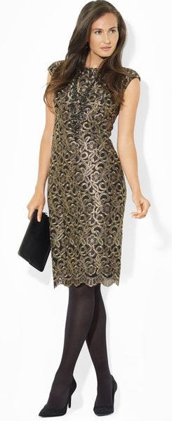 Lauren By Ralph Lauren Embroidered Floral Lace Mesh Dress