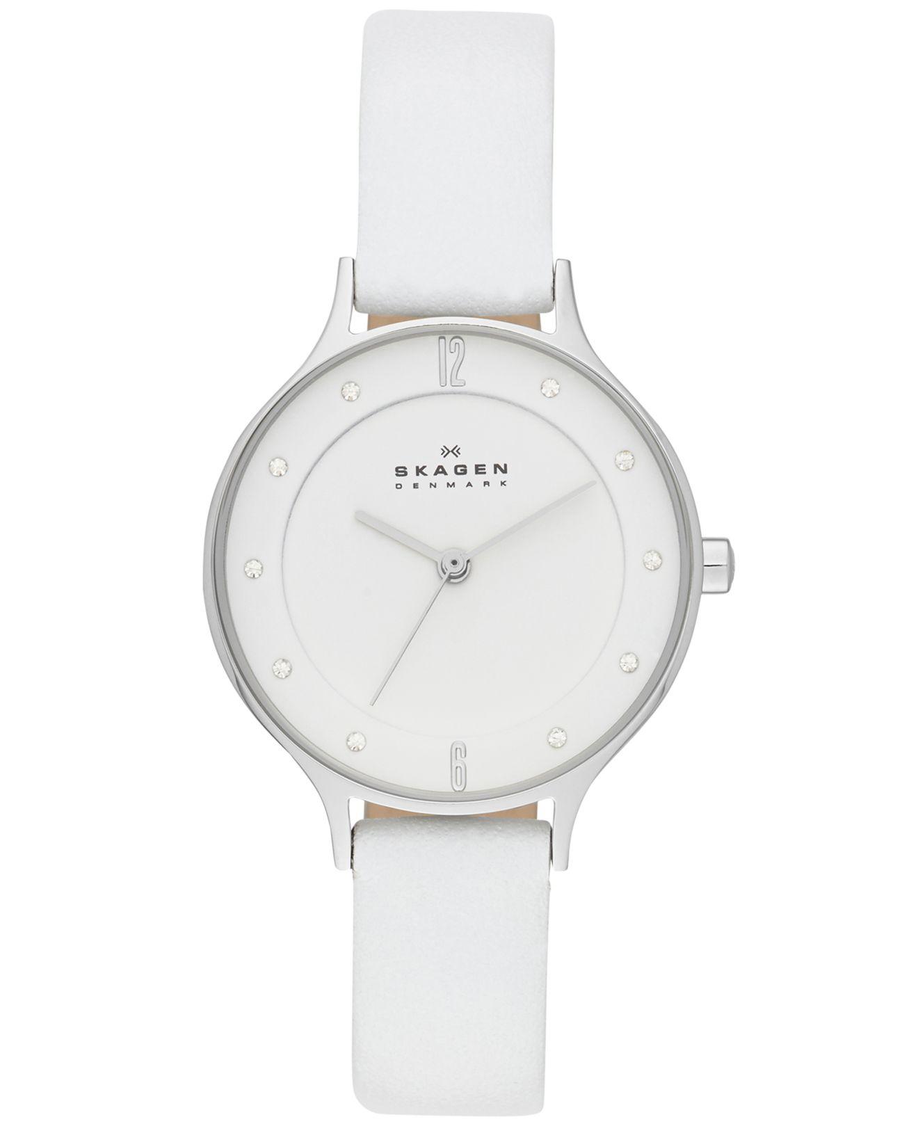 Lyst Skagen Womens Anita White Leather Strap Watch 30mm