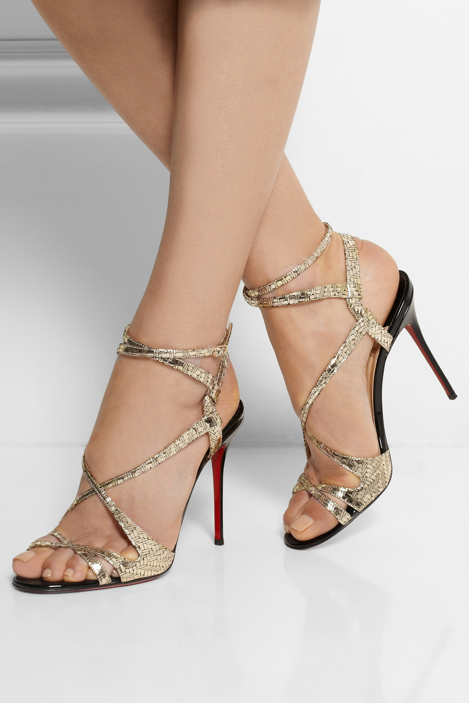 Christian Louboutin Audrey 100 Metallic Coated Suede