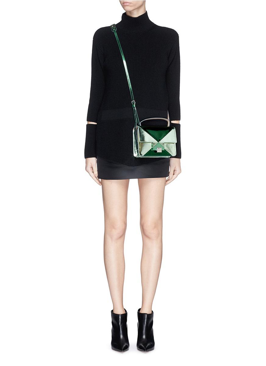 Jimmy Choo Rebel Patchwork Mirror Leather Crossbody Bag