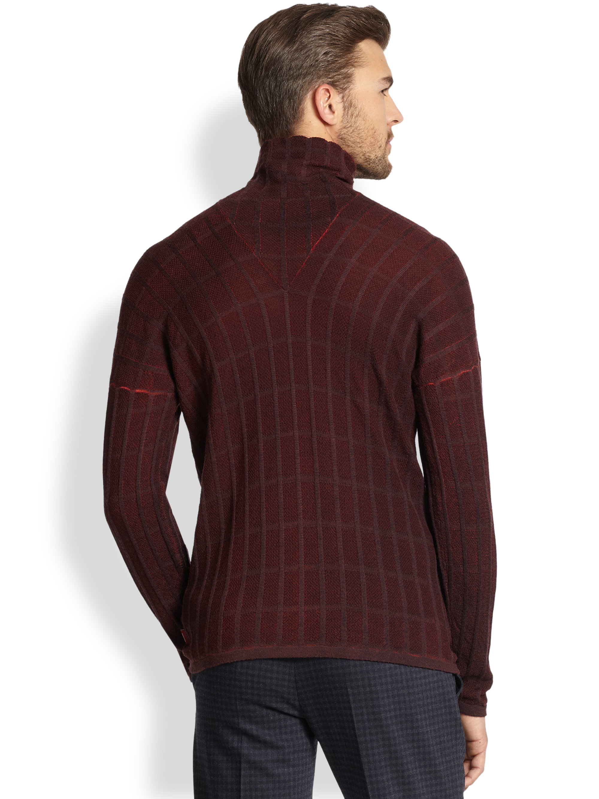 Turtleneck Men Mock Brown