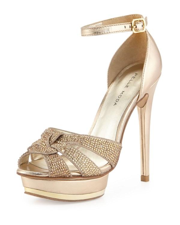 Pelle moda Ava Jeweled Metallic Leather and Suede Peep Toe ...